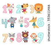 Stock vector birthday anniversary numbers with funny animals character for card kids party invitation vector 553611466