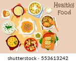 healthy dishes with olives and... | Shutterstock .eps vector #553613242