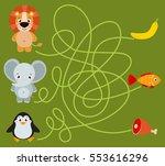 cute animal educational maze... | Shutterstock .eps vector #553616296