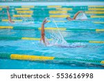 swimming in the pool is not... | Shutterstock . vector #553616998