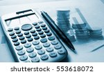 double exposure of set coin on... | Shutterstock . vector #553618072