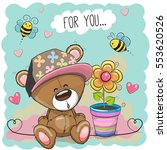 greeting card bear with flower...   Shutterstock .eps vector #553620526
