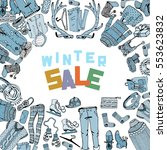 winter sale clothing and... | Shutterstock .eps vector #553623832