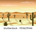desert landscape flat design | Shutterstock .eps vector #553629346