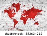 illustrated map of the world... | Shutterstock . vector #553634212