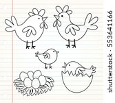 doodle cute chicken family... | Shutterstock .eps vector #553641166