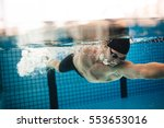 underwater shot of pro male... | Shutterstock . vector #553653016