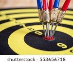 dart arrows pin in the center...   Shutterstock . vector #553656718
