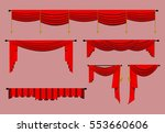 red curtains and draperies... | Shutterstock .eps vector #553660606