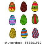 color easter eggs collection... | Shutterstock .eps vector #553661992