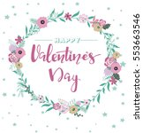 valentine s day card with hand... | Shutterstock .eps vector #553663546