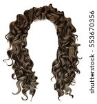 woman trendy long curly... | Shutterstock .eps vector #553670356