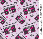 retro audio player in a flat...   Shutterstock .eps vector #553671382