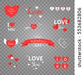 set of love stickers  emblems ... | Shutterstock .eps vector #553682806