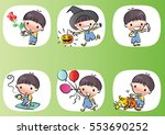 vector drawing cartoon boys set | Shutterstock .eps vector #553690252