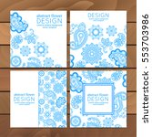 vector set of business cards ... | Shutterstock .eps vector #553703986