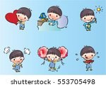 vector drawing cartoon boys set | Shutterstock .eps vector #553705498