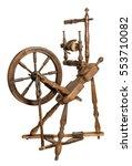 old wooden spinning wheel...   Shutterstock . vector #553710082