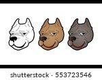 pitbull dog face cartoon vector | Shutterstock .eps vector #553723546