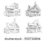 hand drawn cottage house sketch ... | Shutterstock .eps vector #553726846