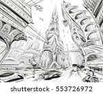 fantastic city of the future.... | Shutterstock .eps vector #553726972