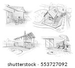 hand drawn cottage house sketch ... | Shutterstock .eps vector #553727092