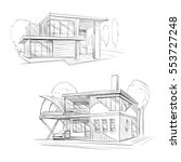 hand drawn cottage house sketch ... | Shutterstock .eps vector #553727248