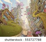 postapocalyptic fantastic city. ... | Shutterstock .eps vector #553727788