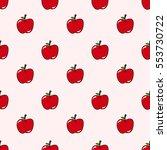 seamless cute apple pattern...   Shutterstock .eps vector #553730722