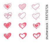 st.valentine s day hearts set.... | Shutterstock .eps vector #553732726