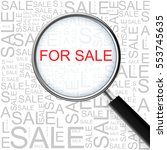 for sale. magnifying glass over ... | Shutterstock .eps vector #553745635