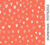 hearts on a red background... | Shutterstock .eps vector #553762012