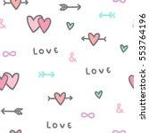 romantic symbols. hearts ... | Shutterstock .eps vector #553764196