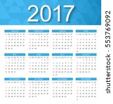 2017 calendar.week starts from... | Shutterstock .eps vector #553769092