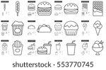 Junk Food Vector Line Icon Set...