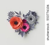 Stock photo  d render digital illustration red pink paper flowers bridal bouquet wedding card quilling 553776106