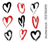 hand drawn hearts. design... | Shutterstock .eps vector #553783495