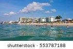 sunny  day at  barra da tijuca... | Shutterstock . vector #553787188