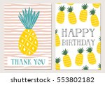 set of pineapple cards. happy... | Shutterstock .eps vector #553802182