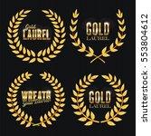 laurel wreath set. golden... | Shutterstock .eps vector #553804612