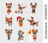 stickers. cartoon. emotional... | Shutterstock .eps vector #553806376