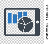 charts on pda icon. vector... | Shutterstock .eps vector #553816816