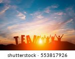 silhouette of happy business... | Shutterstock . vector #553817926
