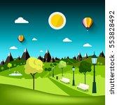 nature landscape. vector park... | Shutterstock .eps vector #553828492
