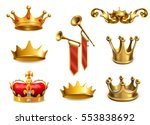 gold crown of the king  3d... | Shutterstock .eps vector #553838692