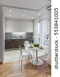 kitchen interior in a new... | Shutterstock . vector #553841005