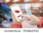 shopping web site app on smart... | Shutterstock . vector #553862932
