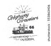 heavy truck typography logo... | Shutterstock .eps vector #553863406