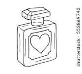 perfume bottle with heart.... | Shutterstock .eps vector #553869742