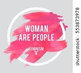 stroke poster feminism. female... | Shutterstock .eps vector #553873978